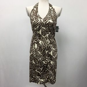 Jones New York Brown Cream Leaves Halter NWT